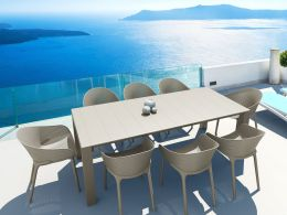 Vegas Medium 8 Seat Set with  Sky Chairs Set in Taupe