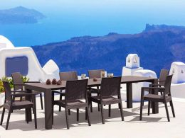 8 Ibiza Chairs and Vegas XL Table Dining Set in Brown