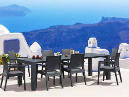 8 Ibiza Chairs and Vegas XL Table Dining Set in Grey