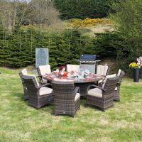 Cairo 8 Seater Round Rattan Dining Set with Choc Table with Quick Dry Back Cushions