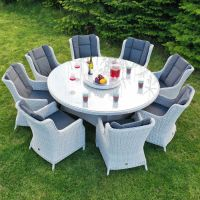 Roma Light Grey 8 Seater Round Dining Set