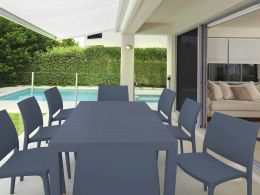 8 Maya Chairs and Vegas XL Table Set in Grey