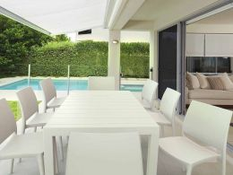 8 Maya Chairs and Vegas XL Table Set in White