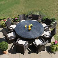 8 Seater Round Cairo Rattan Dining Garden Furniture Set