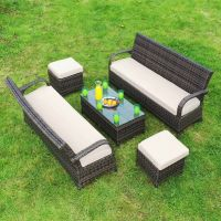 Cairo 3 Seat Sofa Set with Coffee Table 2 Sofas + 4 Footstool