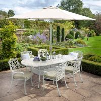 Capri 6 Seat Oval Set - Maize with Parasol and Base