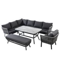 Dubai Rectangular Casual Dining Bench Set with Armchair