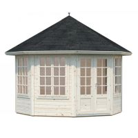 Eimear 9.2m Hexagon Summer House with Shingles - Natural