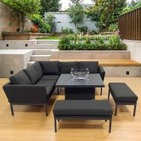 Galaxy Corner Firepit Dining Set - Dark Grey