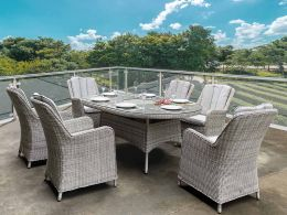 Hamilton 6 Seat Oval Set with Ice Bucket and 6 Chairs