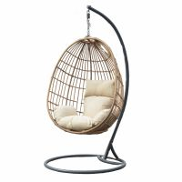 Garden Hanging Chair with Beige Cushion