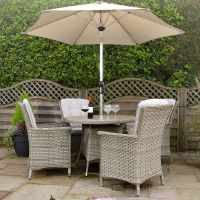 Heritage Tuscan 4 Seat Round Set with Parasol and Base