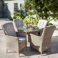 Heritage 4 Seat Beech Rattan Round Set - Dove Cushion