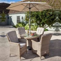 Heritage 4 Seat Beech Rattan Round Set - Dove Cushion with Parasol and Base