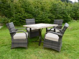 Killiney 4 Seat Square Rattan Dining Set with Cairo Chairs