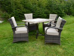 Killiney 4 Seat Square Outdoor Dining Set with Cairo Chairs with Back Cushions