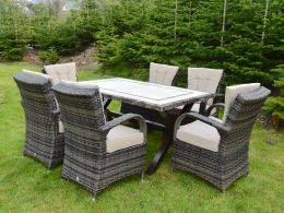 Killiney 6 Seat Rectangular Rattan Set with Cairo Chairs with Back Cushions