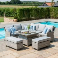 Hamilton Corner Bench Set with Rising Table & Ice Bucket