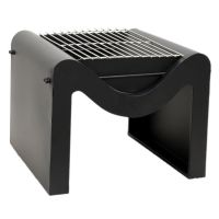Outdoor Metal Hexham Firepit with Grill in Black (H38cm x W46cm)