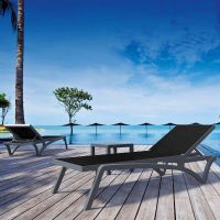 Pacific Sun Loungers and Ocean Side Table Set in Grey