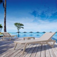 Pacific Sun Loungers and Ocean Side Table Set in Taupe