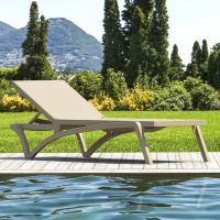Pacific Sunlounger - Taupe Frame with Taupe Fabric