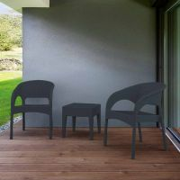 Panama 2 Chairs with Side Miami Side Table Grey