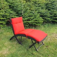 Prague Sun Lounger with Red Cushion