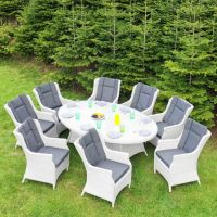 8 Seat Light Grey Outdoor Dining Set