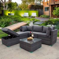 Rio Grande Reclining Bench Rattan Corner Sofa Set - Grey