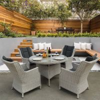 Roma Light Grey 4 Seater Round Dining Set