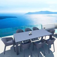 Sky 8 Seaters Vegas Medium Rectangular Dining Set in Grey