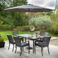 Titan 6 Seat Rectangular Set with Parasol and Base