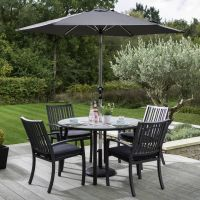 Titan 4 Seat Round Set with Parasol and Base