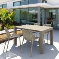 Vegas 4 Seater Table with Air Chairs Set in Taupe