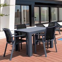 Vegas 4 Seater Table with Pacific Chairs Set in Grey