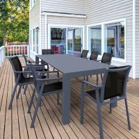 Vegas 8 Seater Table with Pacific Chairs Set in Grey