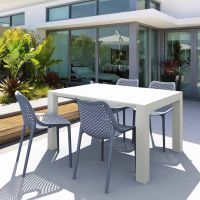 Vegas White 4 Seater Table with Air Grey Chairs Set