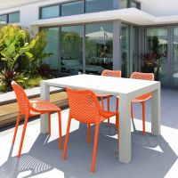 Vegas White 4 Seater Table with Air Orange Chairs Set