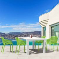 Vegas White 4 Seater Table with Air XL Green Chairs Set