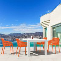 Vegas White 4 Seater Table with Air XL Orange Chairs Set