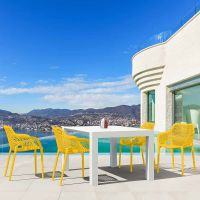Vegas White 4 Seater Table with Air XL Yellow Chairs Set