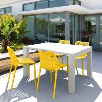 Vegas White 4 Seater Table with Air Yellow Chairs Set