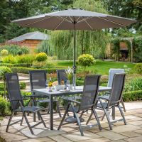 Vienna 6 Reclining Seat Rectangular Dining Set with Parasol and Base
