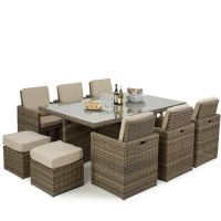 Winchester Premium Sand 7 Piece Rattan Cube Set with Footstools