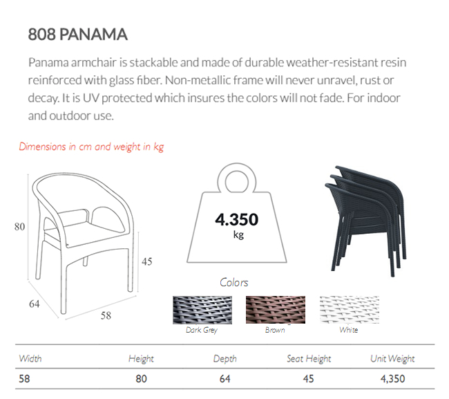 Panama 808 Weave Resin Armchair Features and Spefications